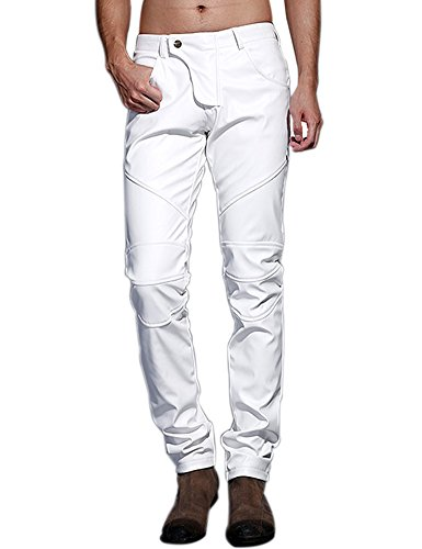 Idopy Men`s Slim Fit Party Performance Biker Faux Leather Jeans Pants White 32