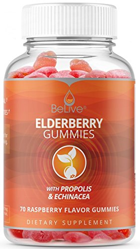 Elderberry Gummies with Propolis, Echinacea. Sambucus Nigra, Vitamin C Herbal Supplement Made for Kids & Adults. Immune System Support – 100% Natural and Vegan Friendly | Raspberry Flavored. 70 Count