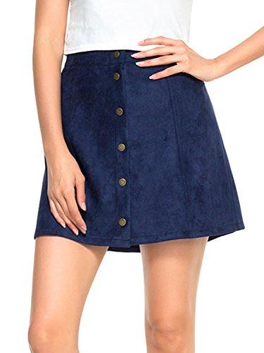 - Choies Women's Navy Velvet Button Front A-line Short Skirt L