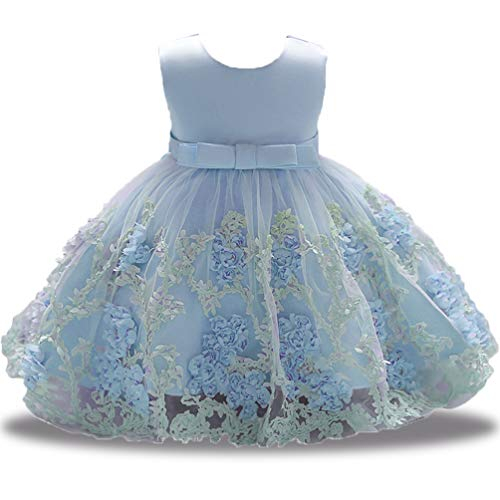 XIPAI Flower Dresses Girls Infant Baby Toddler Princess Tulle Lace 3D Sleeveless Tea Length Tutu Formal Ball Gowns Dress 3-6 Months Blue