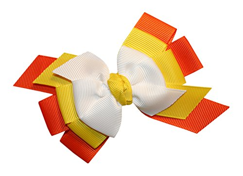 WD2U Girls' Candy Corn Thanksgiving Harvest Hair Bow French Clip Barrette 8042FC