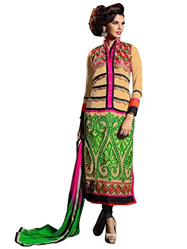 Vibes Women Georgette Salwar Suit Dress Material (V180-11007 _Multi-Coloured _Free Size)