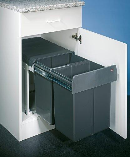 WESCO Profiline Double-Master-Maxi 40 DT Einbau-Abfallsammler, 2 x 20 L, 1 Stück, anthrazit, 887911-11
