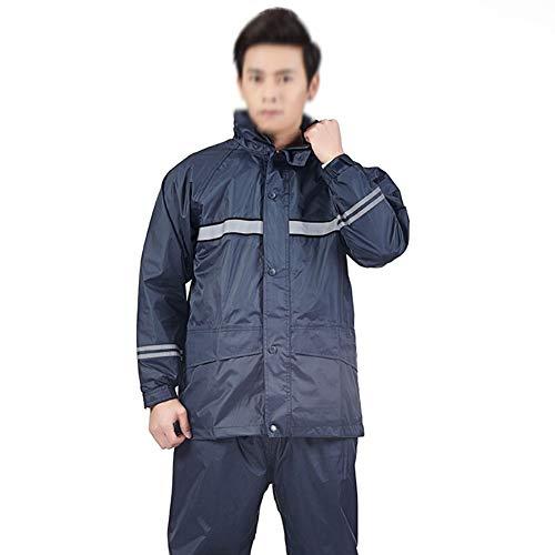 - Poncho Rain Suit Rainwear Hooded Rain Waterproof Raincoat Men's Adult Large Mask Helmet Riding Split Suit GMING (Color : Navy (no mask), Size : XXXL)