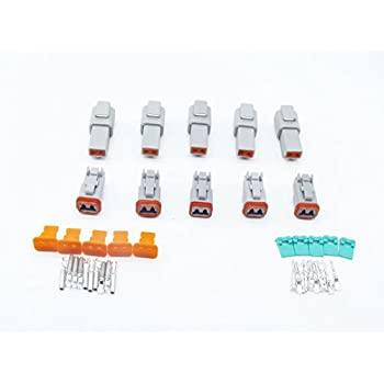 CNKF 5 Sets DT 6 Pin Connector Kit Gray Waterproof Connector 14 AWG Solid Contact DT06-6S//DT04-6P