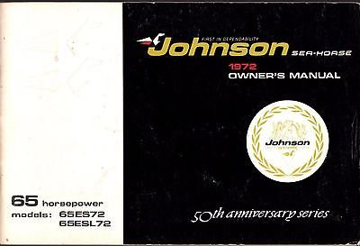 1972 JOHNSON OUTBOARD MOTOR 65 HP MODELS OWNER'S MANUAL (417)
