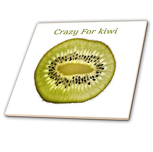 3dRose lens Art by Florene - Crazy For Different Foods - Image of Crazy For Kiwi Words On giant Kiwi Closeup - 8 Inch Glass Tile (ct_309811_7)