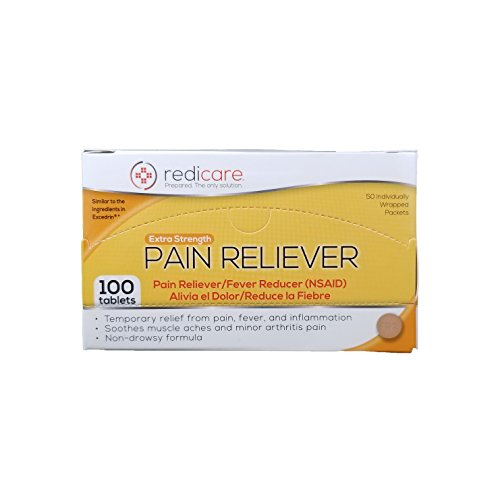 Extra Strength Pain Reliever Travel Packets with dispenser box - Great for First Aid Kit and workplaces - 50 packets of 2