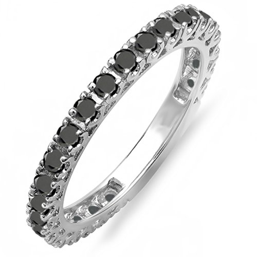 Gold Unique Diamond Eternity Band (1.00 Carat (ctw) 14K White Gold Round Black Diamond Eternity Sizeable Stackable Ring Anniversary Wedding Band 1 CT (Size 7.5))