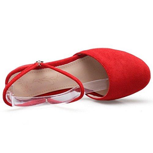 FANIMILA Mujer Moda Ankle Strap Sandalias Cerrado Slingback Tacon Ancho Zapatos Rojo