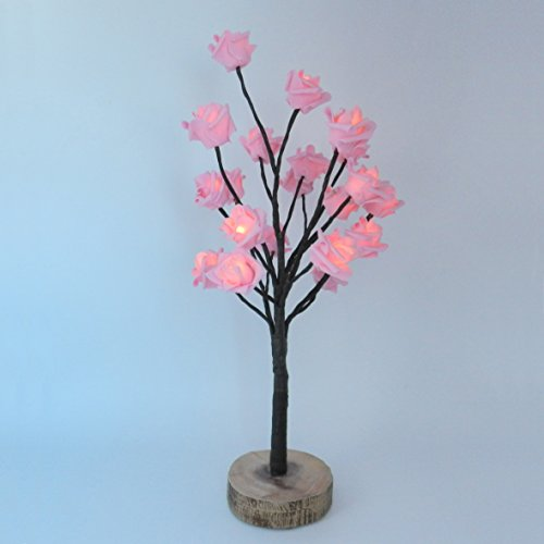 CVHOMEDECO. Battery Operated w/Timer Lighted Pink Rose Tree Tabletop LED Light, 20 Warm White LEDs, Rustic Vintage Wooden base, For Home/Party/Wedding/Festival/Indoor Decoration, 22-Inch (Inside Trees)