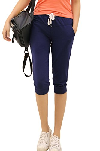 Asherbaby Women's Casual Loose Drawstring Cropped Pants Capris Jogger Trousers Dark Blue US 2=Tag (Cropped Casual Trousers)