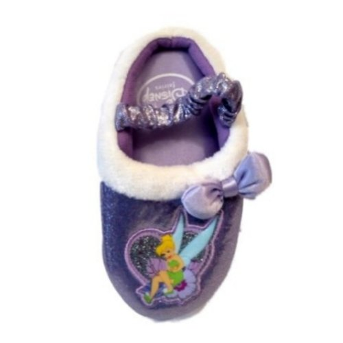 Disney Toddler Girls Purple Tinkerbell Slippers House Shoes S (5-6) (Tinker Bell Shoes)