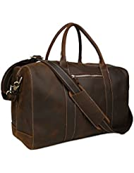Huntvp Mens Leather Travel Duffel Overnight Carrry On Luggage Gym Shoulder Bag