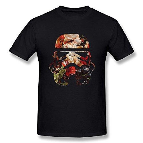 Jahei Custom Star Wars Floral Stormtrooper Mens T-Shirts Black XXL (Lego Custom Star Wars The Force Awakens)