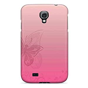 Fashion Tpu Case For Galaxy S4- Soft Pink Butterfly Defender Case Cover