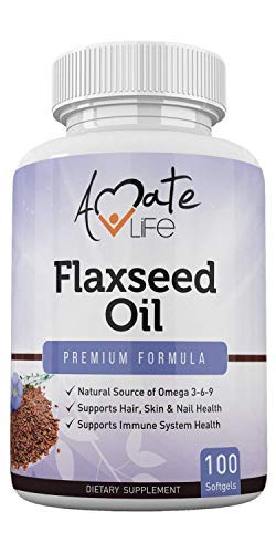 Organic Flaxseed Oil Softgels 1000mg with Omega 3 6 9 for Cardiovascular Health & Immunity Booster, Promotes Healthy Skin, Nails & Hair Super Organic Supplement Made in USA 100 Capsules by Amate Life