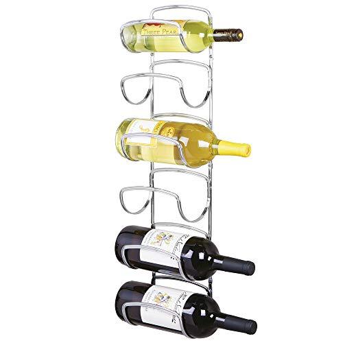 mDesign Modern Decorative Metal Wine Bottle Storage Organizer Rack Holder - 6 Level Design - Wall Mount - Chrome Bottle Chrome Wine Rack