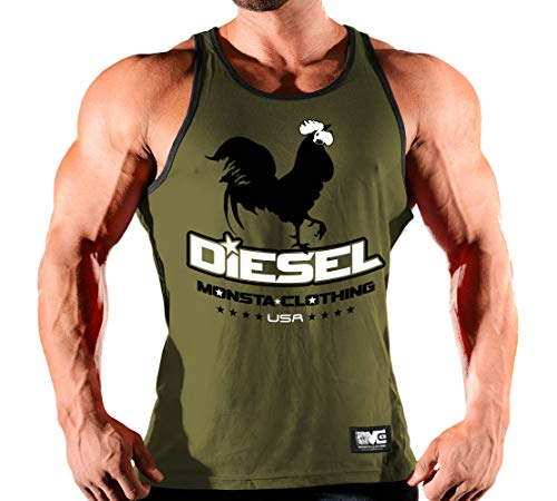 (Elite Series: Cock Diesel-206: (E.S. Tank Top - Military Green/Black, Large))