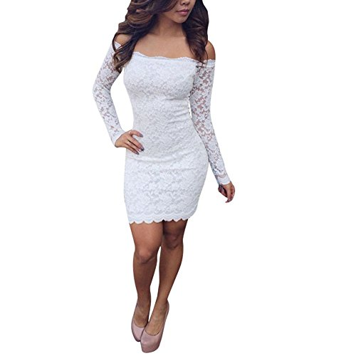 Hengzhi Women Sexy Off Shoulder Long Sleeve Bodycon Lace Club Midi Dress