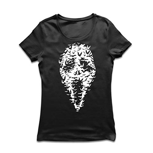 lepni.me Women's T-Shirt Ghost Scary Face Bats, Halloween Party Costume (XX-Large Black Multi Color) ()