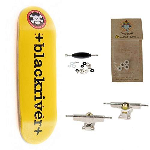 BerlinWood Blackriver Logo Yellow//Black Fingerboard Starter Set Sizes Wide Low Shape
