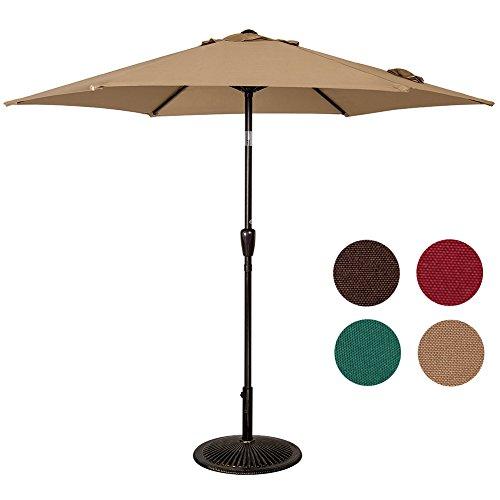 Sundale Outdoor 8.2 Feet Aluminum Patio Umbrella Table Market Umbrella with Push-button Tilt and Crank Lift for Garden, Deck, Backyard, Pool, 6 Steel Ribs, 100% Polyester Canopy (Tan) Review