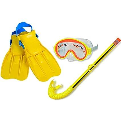 Set de buceo para niño, diseño de gafas, aletas y tubo para bucear talla