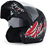 Vega Boolean Escape Flip-up Graphic Helmet with Double Visor (Dull Black and Red, L)