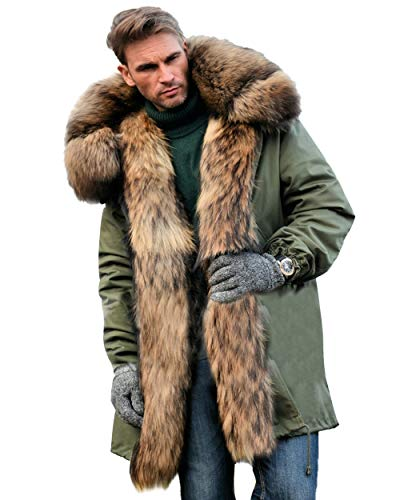 Aox Men's Casual Faux Fur Hood Thicken Winter Coat Lightweight Snow Jacket Parka (2XL, Army Green) (Mens Faux Fur Hood Coat)