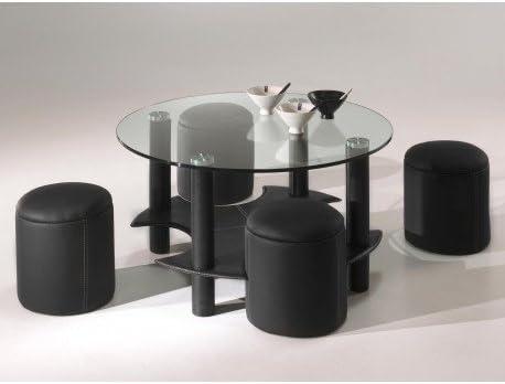 Tavolino Rotondo Con Ripiano In Vetro E Suoi 4 Pouf Similpelle Nero Amazon It Casa E Cucina
