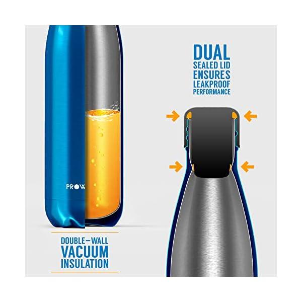 Proworks Bottiglia Acqua in Acciaio Inox, Senza BPA Vuoto Isolato Borraccia Termica in Metallo per Bevande Calde per 12 Ore & Fredde 24 Ore, Borraccia Sport, Lavoro e Palestra - 350ml/500ml/750ml/1L 4 spesavip