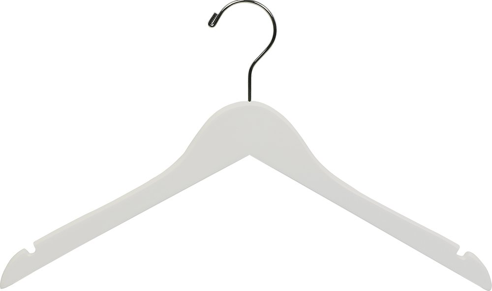 The Great American Hanger Company White Wood Top Hanger, Box of 50 Space Saving 17 Inch Flat Wooden Hangers w/Chrome Swivel Hook & Notches for Shirt Jacket or Dress