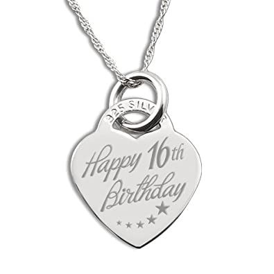 Happy 16th Birthday Sterling Silver Heart Shaped Necklace Pb5Mq