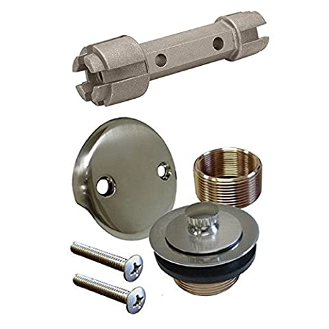 Brushed Nickel Bathtub Tub Drain Assembly Bath Area Shower Overflow and Removal Tool (Bathtub Overflow Elbow)