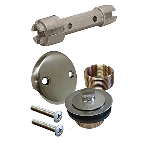 Brushed Nickel Bathtub Tub Drain Assembly Bath Area Shower Overflow and Removal Tool ()