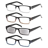 GAMMA RAY 4 Pairs Rectangular Spring Loaded Reading Glasses Sun Readers - 1.50x