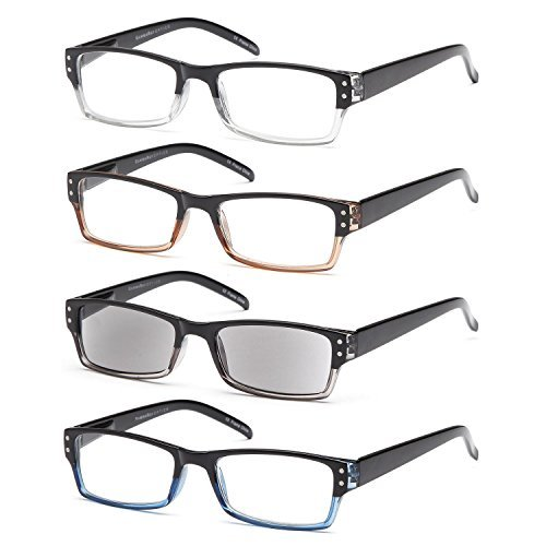 GAMMA RAY 4 Pairs Rectangular Spring Loaded Reading Glasses Sun Readers - 1.00x ()