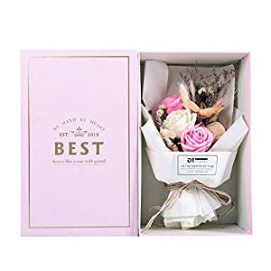 AESTHING Christmas Decoration Rose Soap Flower Real Dry Flower Bouquet Gift Box Mothers'Day Teacher's Day Gifts/Party/Anniversary/Birthday 19