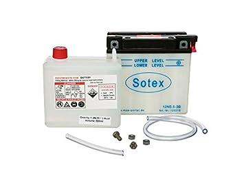 12V 5,0 Ah inkl Batteriesäure Simson S51 12N5-3B SOTEX-Batterie S53 ...