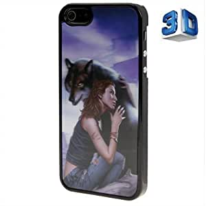 3D Effects Style Girl with Wolf Pattern Plastic Case for iPhone 5