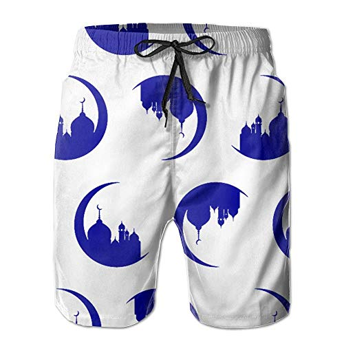 Castle On Moon Custom Summer Casual Beach Shorts Pants for Adult Men Youth XX-Large ()
