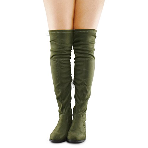 Premier-Standard-Womens-Fashion-Comfy-Vegan-Suede-Block-Heel-Side-Zipper-Back-Lace-Thigh-High-Over-The-Knee-Boots