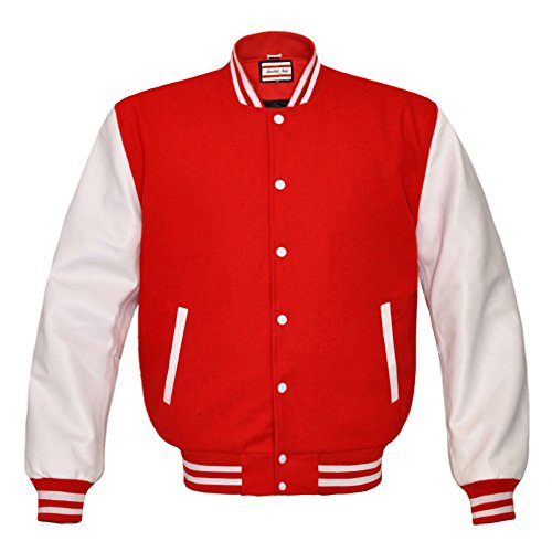 Orginal American Style Varsity Leather Biker Letterman College Men Wool Jackets,Red-white Stripe,X-Small
