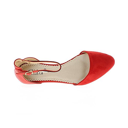 Ballerines femme rouges bout pointu