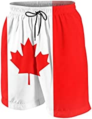 Canada Flag Boys Quick Dry Beach Swim Trunk Youth Graphic Board Shorts Swimsuit with Drawstring Waist