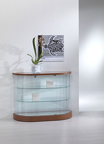 Vitrine Standvitrine Halboval Showcase Werkbank Glas Geschäft oder Haus mit Beleuchtung