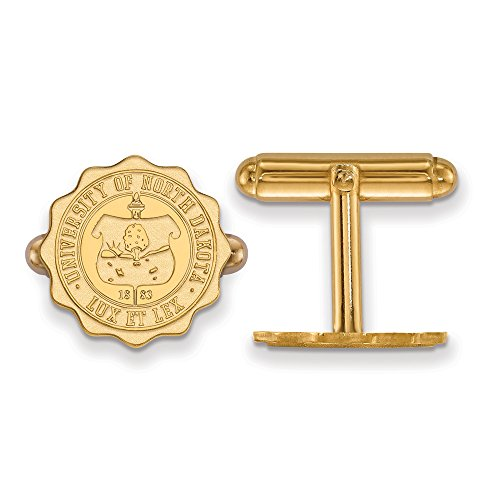 North Dakota Crest Cuff Links (14k Yellow Gold) by LogoArt