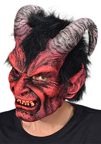 Halloween Devil Mask (Zagone Diablo Mask, Red Demon, Male Horned Devil,)