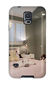 S5 Scratch-proof Protection Case Cover For Galaxy/ Hot Girls Pale Gray Bedroom Is Softened By Pink Bedding And White Furnishings Phone Case